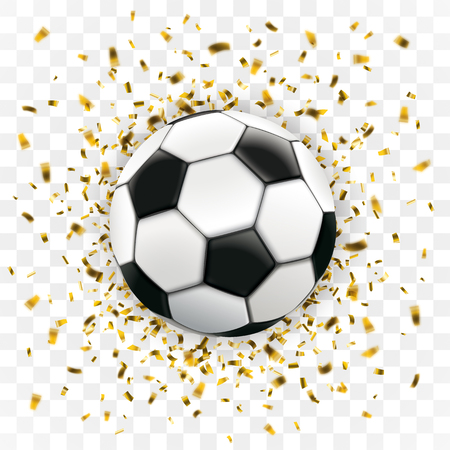 Football with golden confetti on the checked background. Eps 10 vector file.