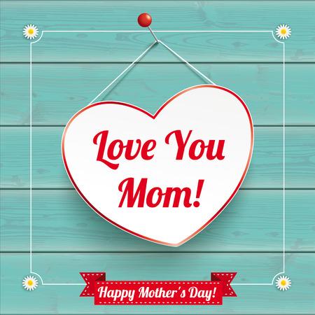 Corazón colgante con marco vintage para el día de la madre en el fondo de madera. Archivo de vector EPS 10. Ilustración de vector