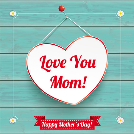 Hanging Heart with vintage frame for Mother's Day on the wooden background. Eps 10 vector file.