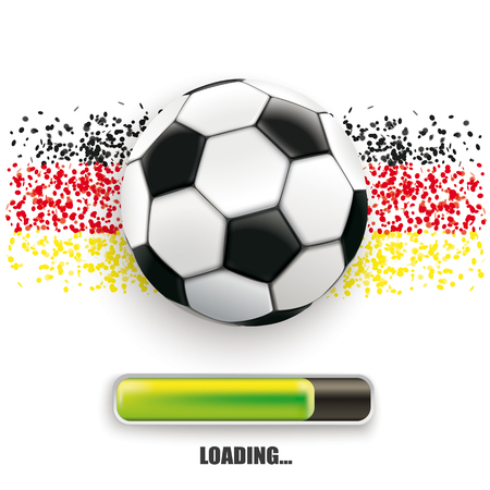 Football with german national colors with progress loading bar on the white background. Eps 10 vector file. Illustration