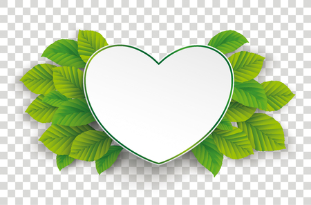 Infographic design with green paper heart and green eco leaves on the checked background.