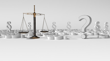 Question mark with beam balance and paragraphs on the white. 3d illustration. Stock Photo
