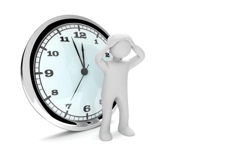 White desperate manikin with big clock on the white. 3d illustration.  Stock Photo