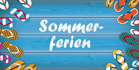 German text Sommerferien, translated to Summer Holidays vector illustration