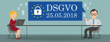 German text DSGVO, translate General Data Protection Regulation. Vektorové ilustrace