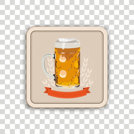 Beer coaster on the checked background. Stock Illustratie