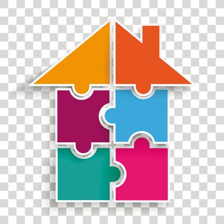 Puzzel van huis op het gecontroleerde vectordossier als achtergrond.