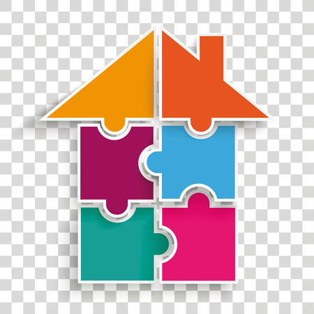 Puzzle of house on the checked background vector file.