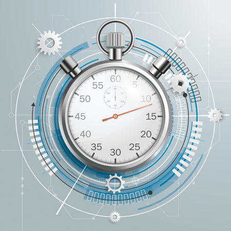 Futuristic gear wheel, stopwatch and electronic schematic on the gray background vector file.