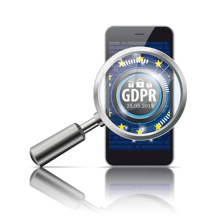 Laoupe and smartphone with the Button GDPR, General Data Protection Regulation vector file. Illustration