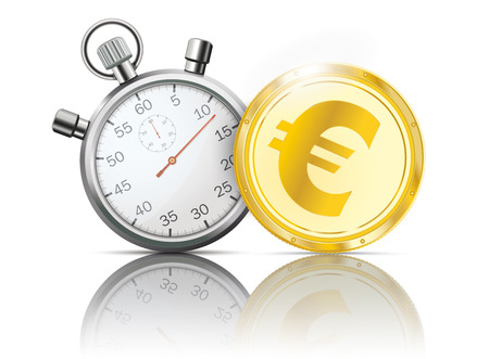 Golden Euro coin with stopwatch on the white background. Eps 10 vector file.