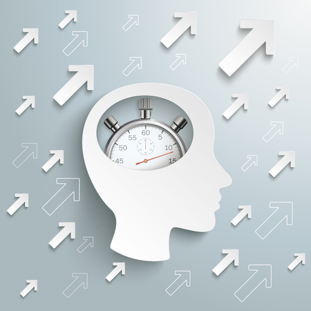 Infographic design with human head, stopwatch and arrows on the gray background. Eps 10 vector file.