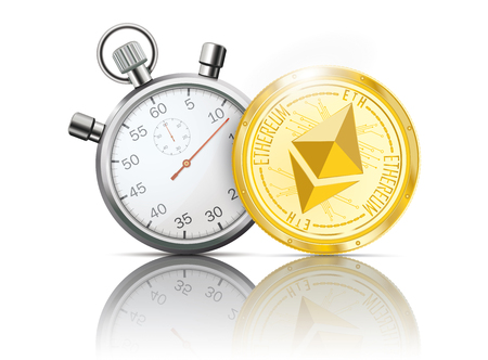 Golden Ethereum coin with stopwatch on the white background. Eps 10 vector file.