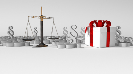 White gift carton with beam balance and paragraphs on the white. 3d illustration.