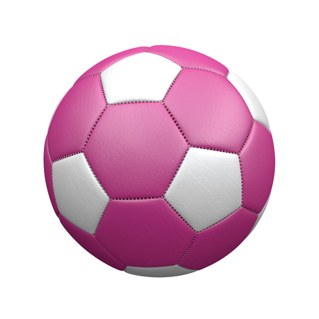 Pink leather football on the white background. 3d illustration.