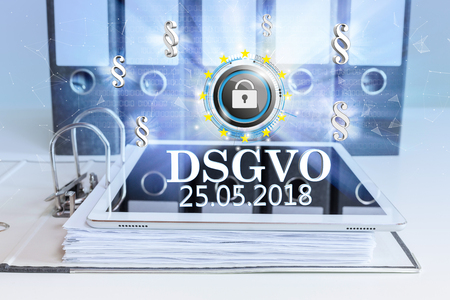 German text DSGVO, translate General Data Protection Regulation. Eps 10 vector file. 写真素材