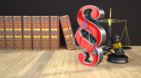 Medicine Law, paragraph with stethoscope, scale and law books on the wooden table. 3d illustration. Stock Photo