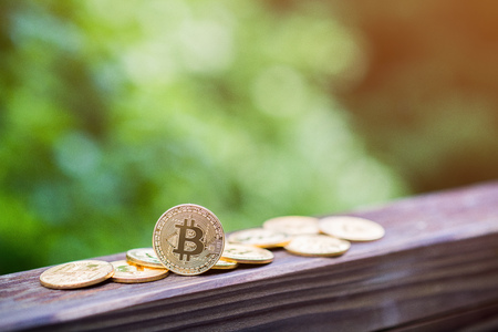 Golden Bitcoins in the nature