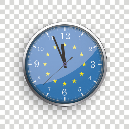 A clock with the EU Flag on the checked background.