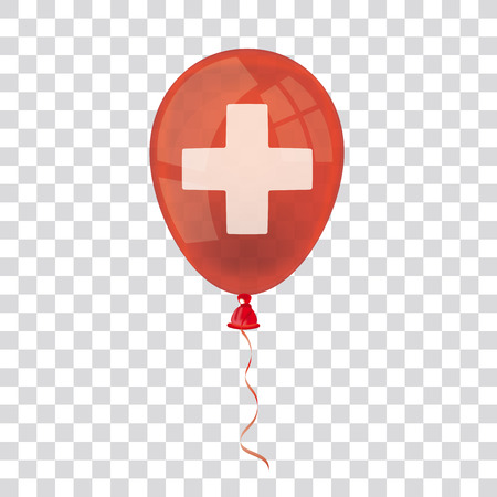 Red balloon with white cross on the checked background.