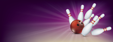 Purple bowling banner with red ball and white pins. Eps 10 vector file.