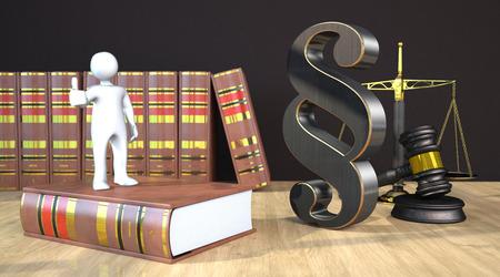 Puppe mit Absatz auf dem Holztisch mit Hammer, Waage und Gesetzbüchern. 3D-Illustration.
