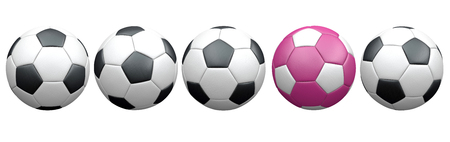 The set of the classic and pink footballs on the white. 3d illustration. Stock Photo