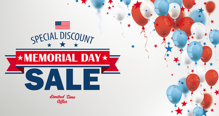 Vintage header with balloons for Memorial Day Sale.