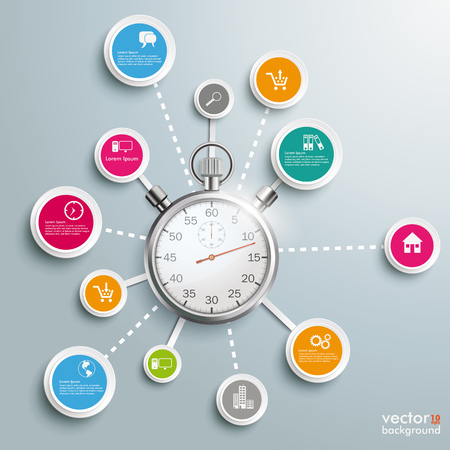 Conception infographique avec chronomètre sur fond gris.
