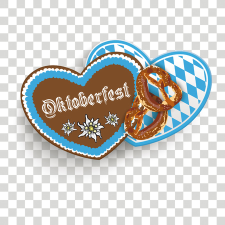 Oktoberfest with hearts and pretzels design on the checked background.