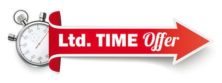 Long red arrow with a stopwatch and the text Ltd Time Offer on the white background. Иллюстрация