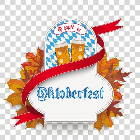 German text Ozapft is and Oktoberfest, translate on tap and Oktoberfest. Illustration