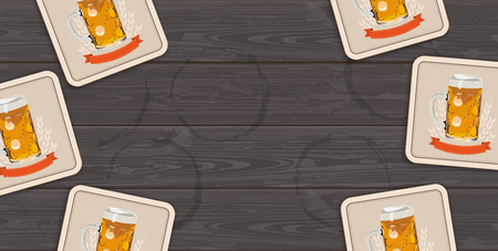 Beer coasters on the dark wooden background.