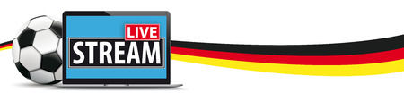 Classic football with german flag and notebook on the white background. Eps 10 vector file.