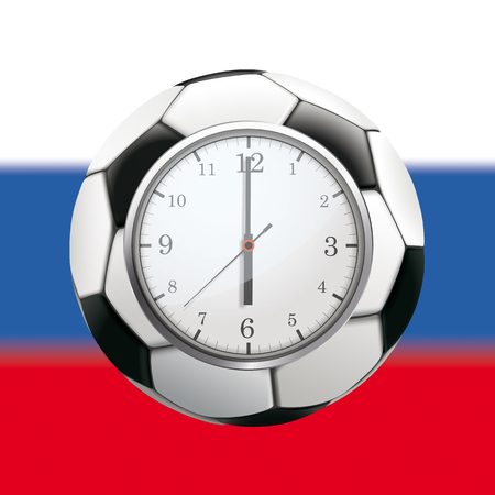 A clock with football and russian flag on the background.