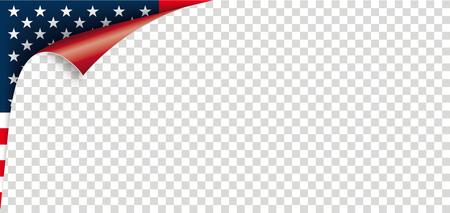 Scrolled corner with US Flag. Eps 10 vector file. 矢量图像