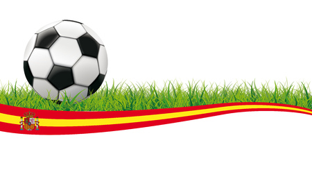 Classic football in grass with spain flag on the white background. Eps 10 vector file. Illustration