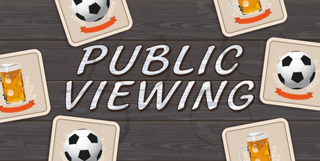 Banner with beer coaster with football on the dark wooden background.  Eps 10 vector file.