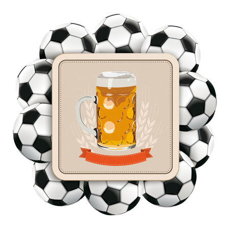 Beer coaster with classic footballs on the white background. Eps 10 vector file.