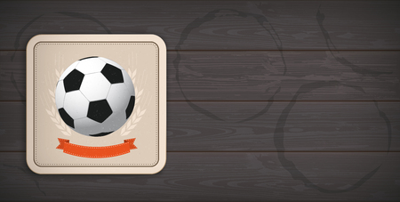 Banner with beer coaster with football on the dark wooden background.
