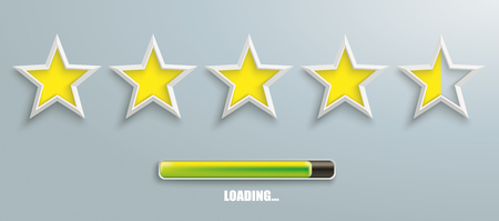 5 white stars with progress bar on the gray background. Eps 10 vector file. Illustration