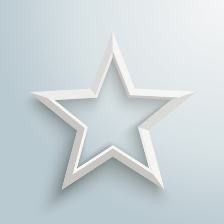 White star with shadows on the gray background. Eps 10 vector file.