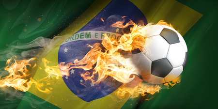 Brazil flag with burning football.