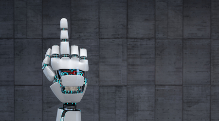 The finger of the robot on the concrete background. 3d illustration. Imagens