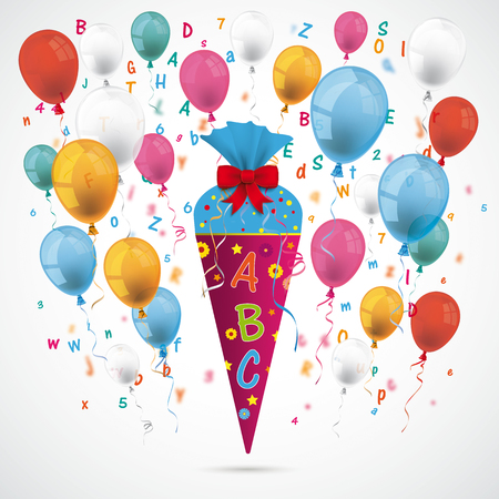 Candy cone with ABC, letters and balloons on the gray background. Eps 10 vector file.