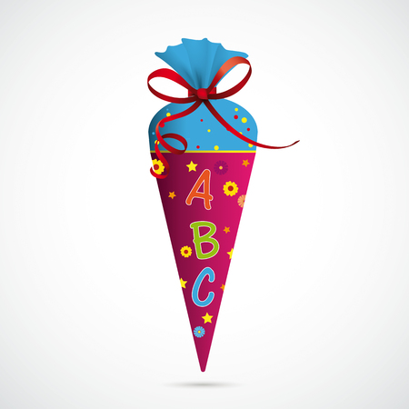 Candy cone with ABC and red bow on the gray background. Eps 10 vector file. Illustration