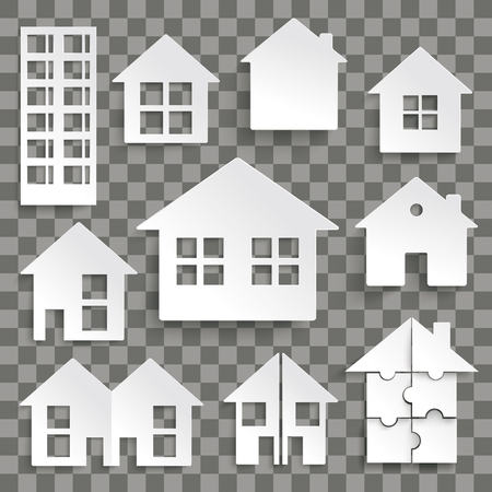 White paper houses set on the checked background. Eps 10 vector file.