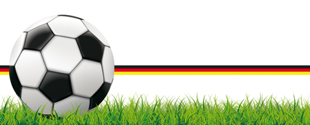 Classic football in the grass on the german flag background. Eps 10 vector file.