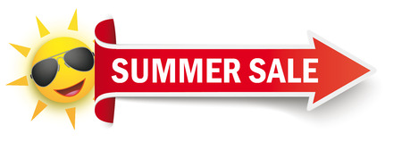 Red arrow with funny sun and text Summer Sale on the white background. Eps 10 vector file. Иллюстрация