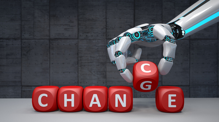 The robot hand with red cubes and text Change Chance. 3d illustration. Stock Photo